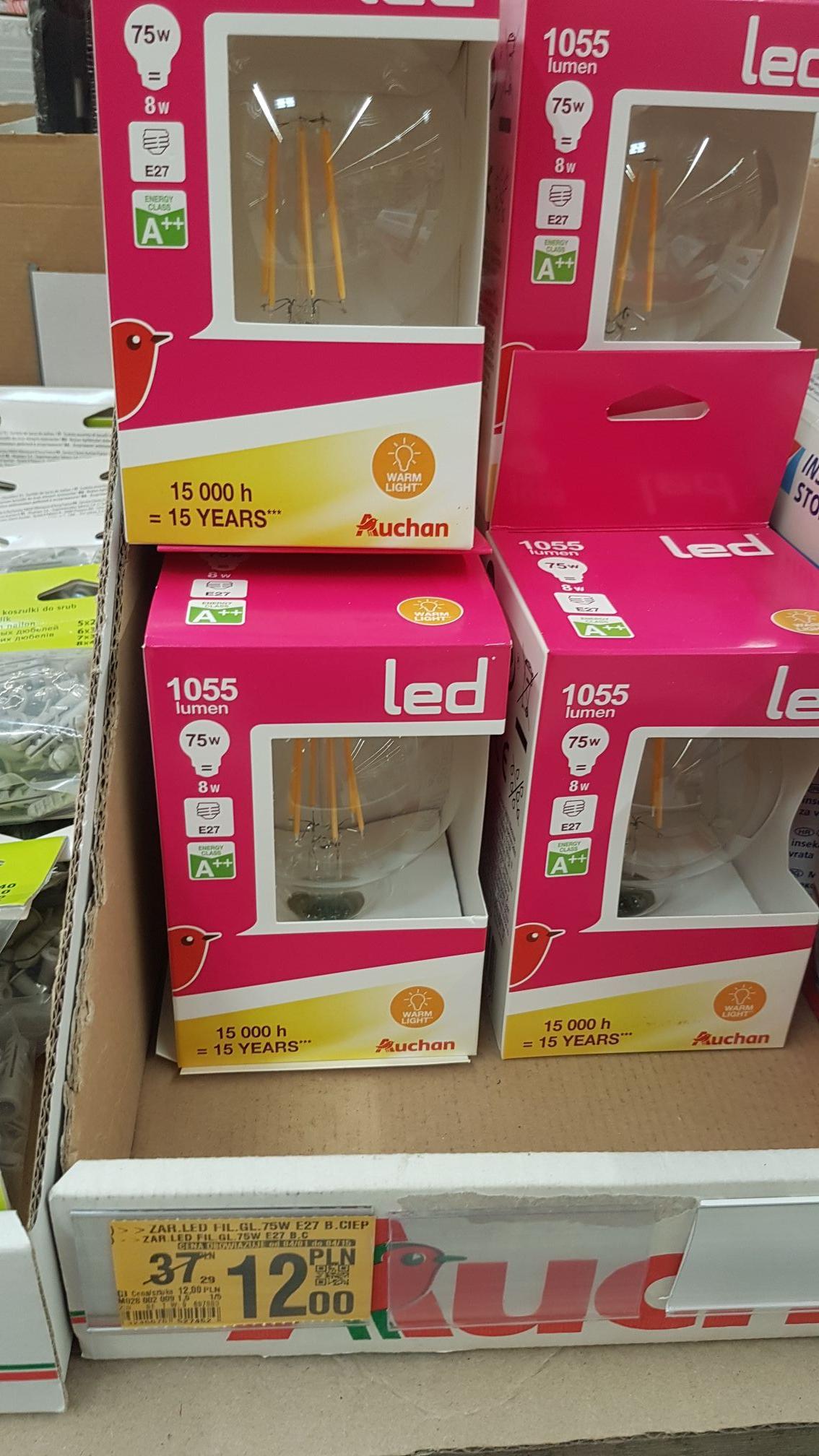 Żarówka LED duża E27 ciepła 8W = 75W 1055 lumenów Auchan 2700K