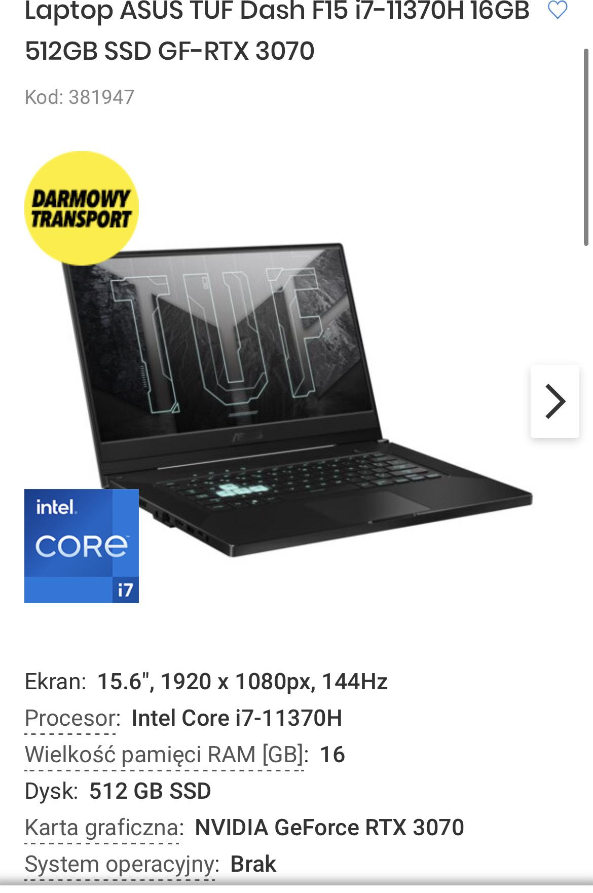 Laptop ASUS TUF Dash F15 i7-11370H 16GB 512GB SSD GF-RTX 3070