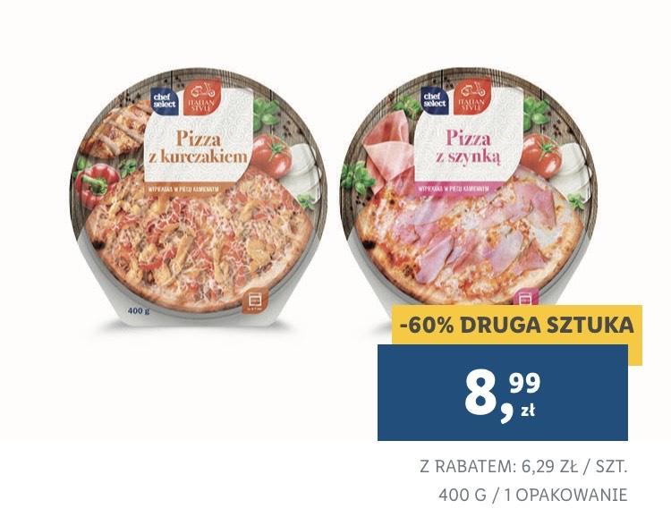 Druga pizza -60%   z szynką lub kurczakiem   400 g   Lidl Plus