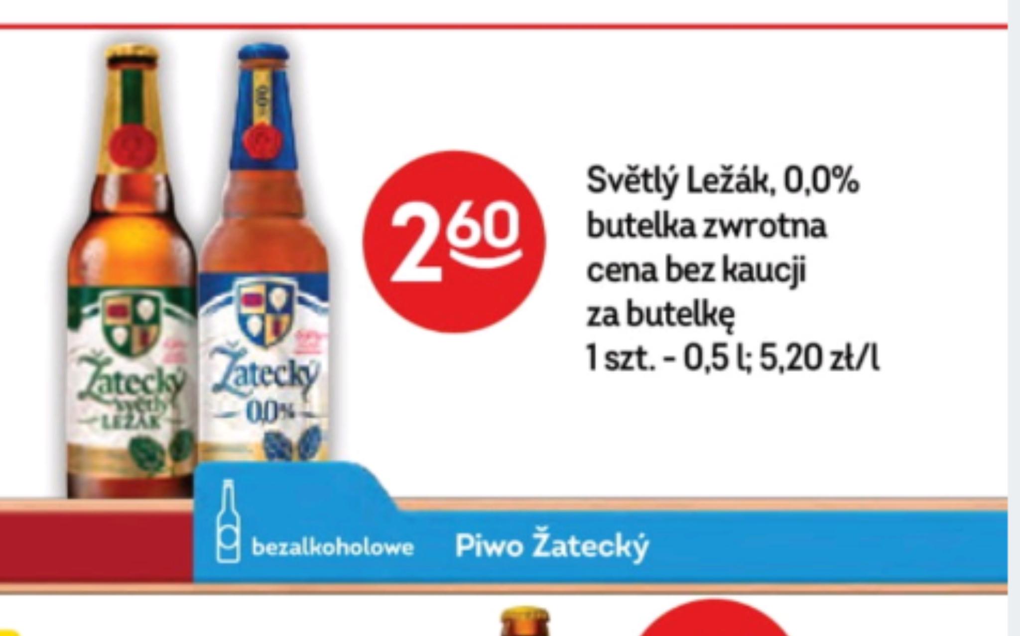 Piwo zatecki lezak (i bezalkoholowy) w żabce, kaucja + 50gr