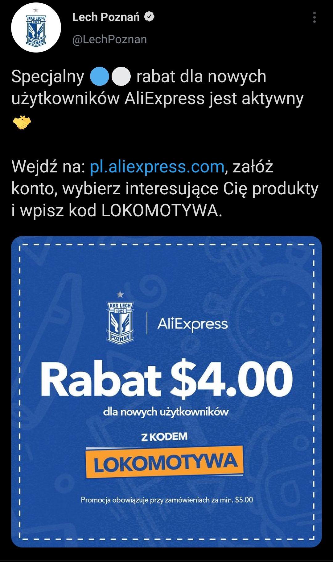 Kod dla nowych użytkowników na AliExpress - 4$