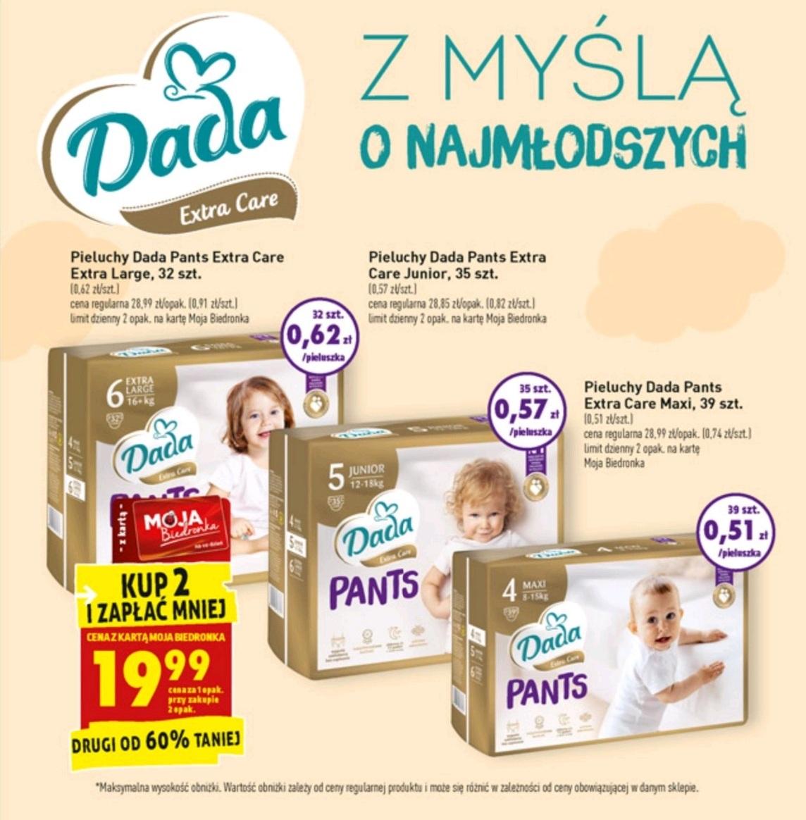 Pieluchomajtki Dada Pants Extra Care - 2 opakowanie 60% taniej - Biedronka