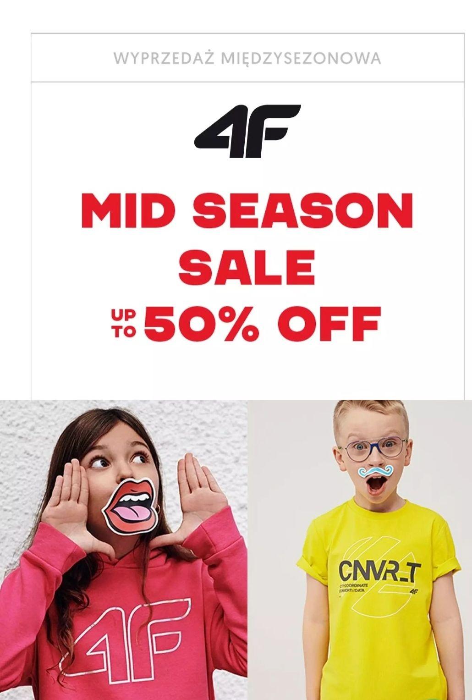 4f Wyprzedaż mid season na odzież dziecięca do - 50%