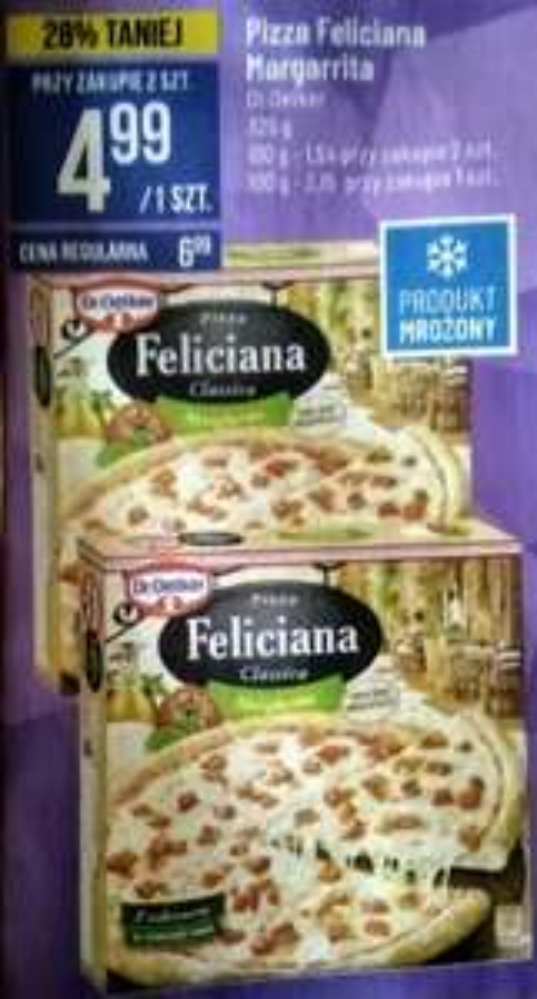Pizza Feliciana Margarrita Dr. Oetker   325 g   taniej przy zakupie 2 szt.    Promocja tylko w dniu 17.04. 2021  Polomarket