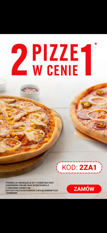 2 pizze klasyczne w cenie 1 w Pizza Dominium
