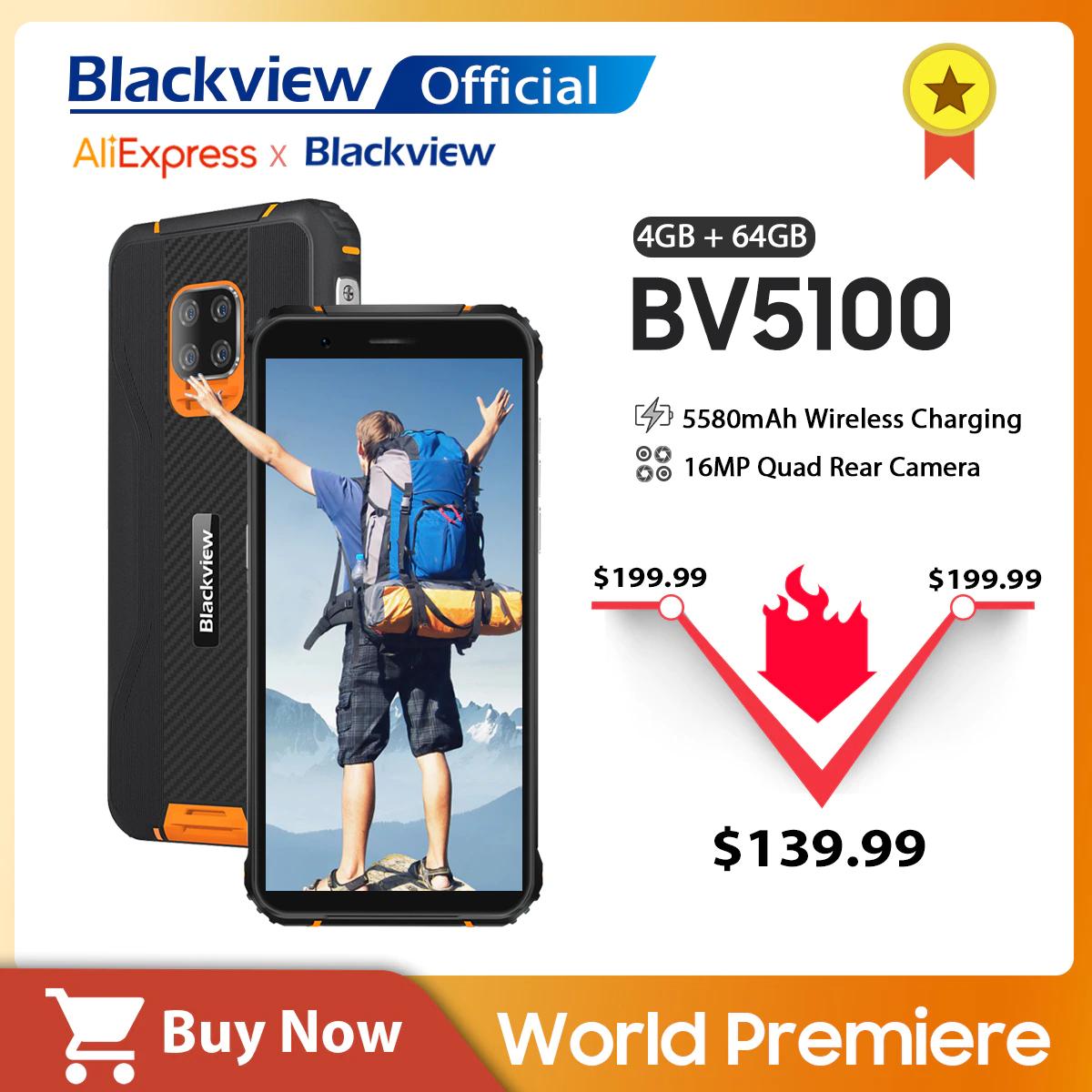Smartfon Blackview 4G VoLTE IP68 IP69K MIL-STD-810G 4/64GB 5580mAh Android 10 NFC Smartphone - $139.99 i darmowa wysyłka