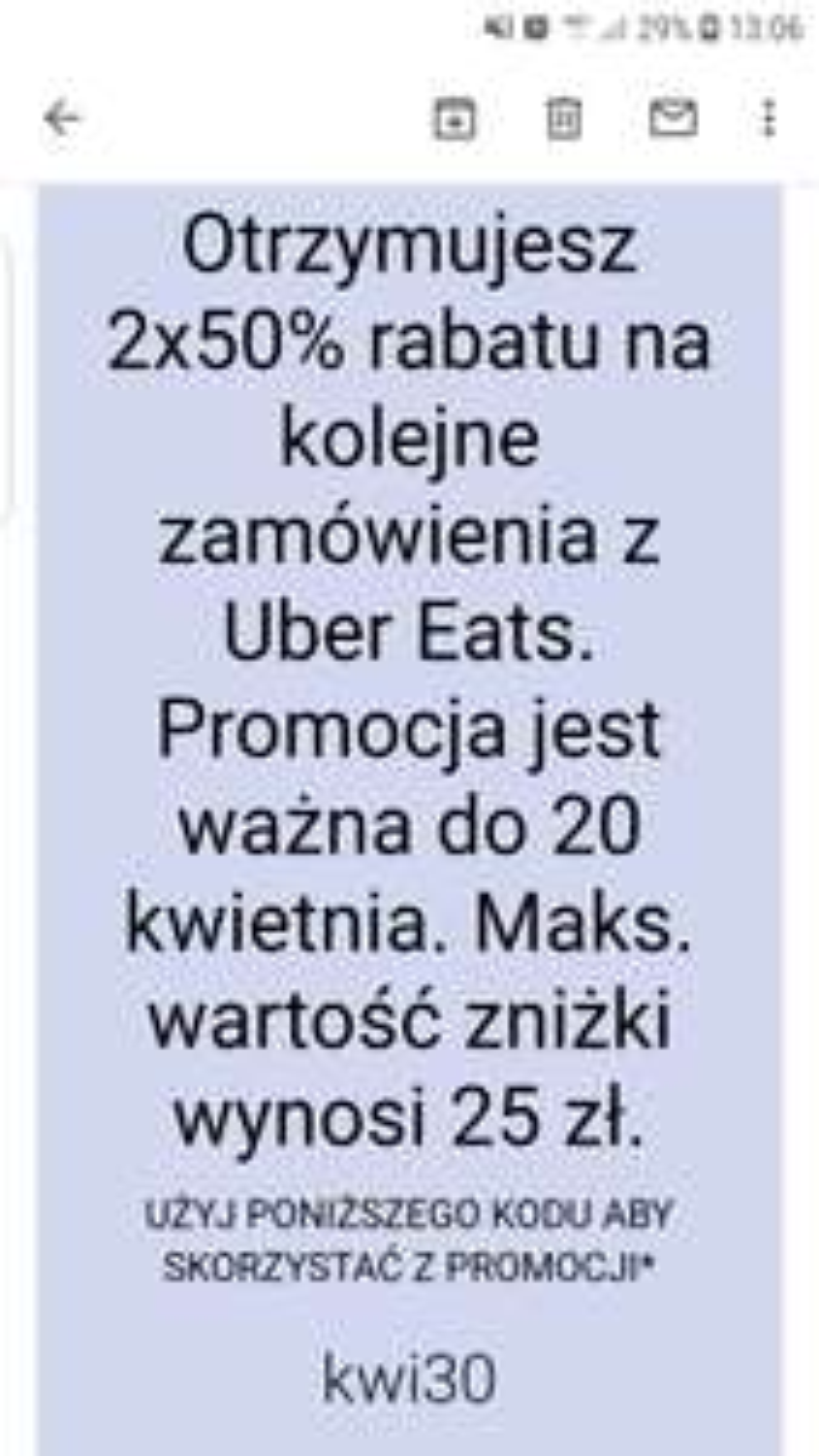 Kod na 2×50% zniżki na Uber Eats