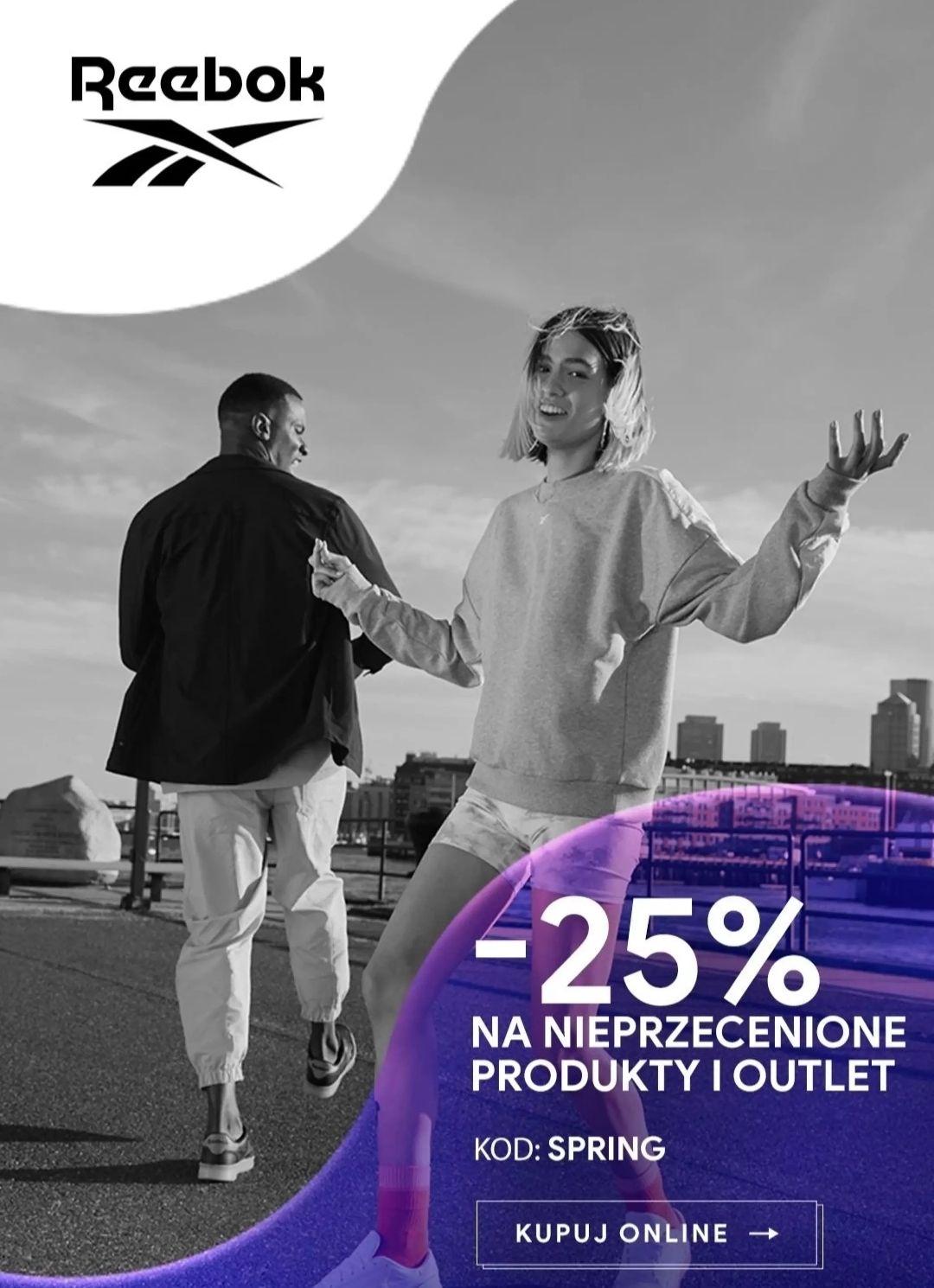 Reebok, -25% na produkty nieprzecenione oraz outlet