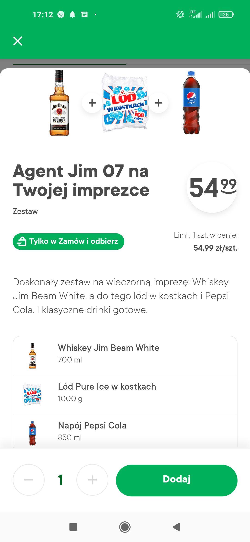 Żabka Jim Beam 0,7l plus lód plus Pepsi 0.85l aplikacja zamów i odbierz