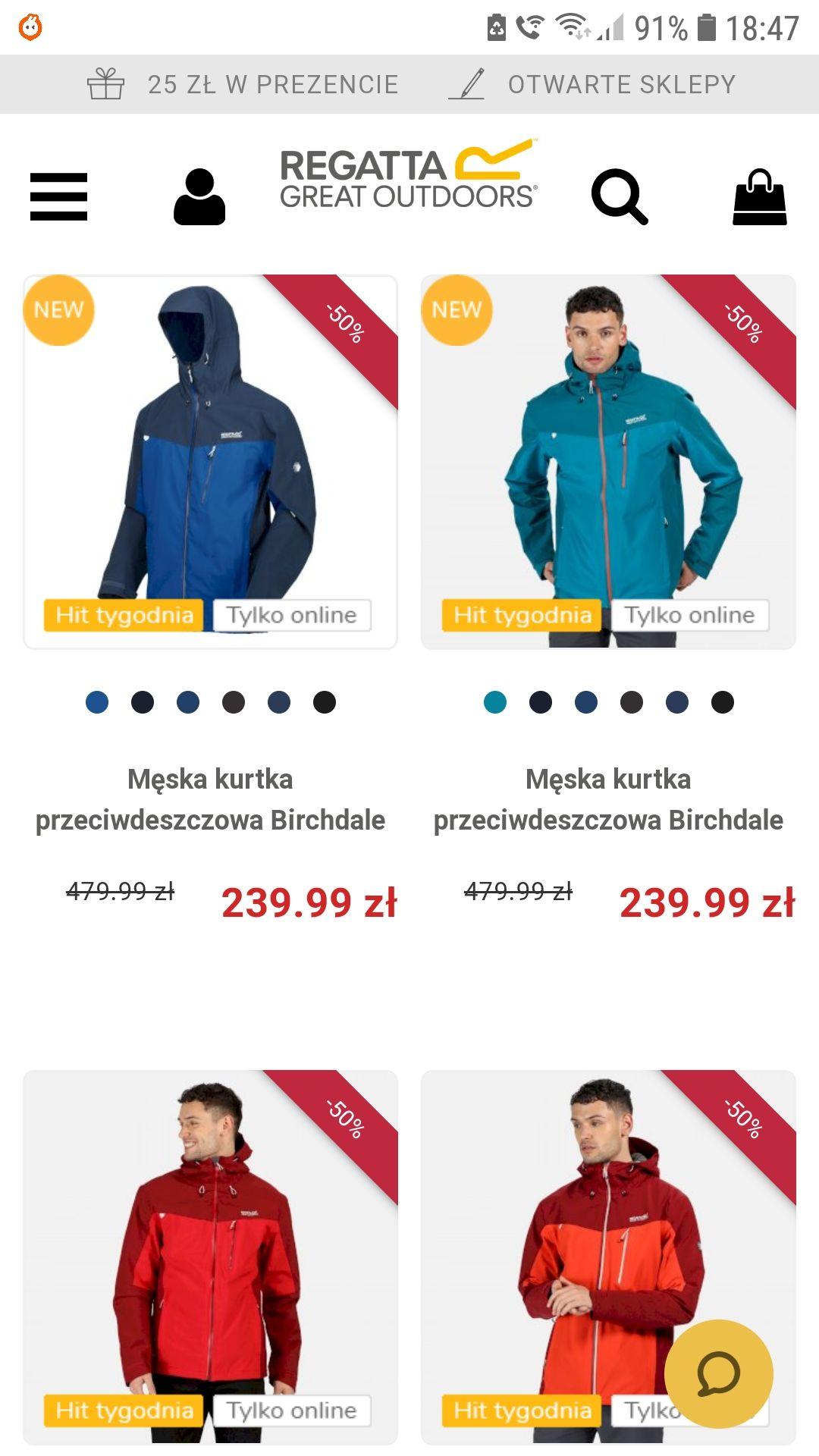 """Zniżki na kurtki przeciwdeszczowe od """"Regata""""-50%"""