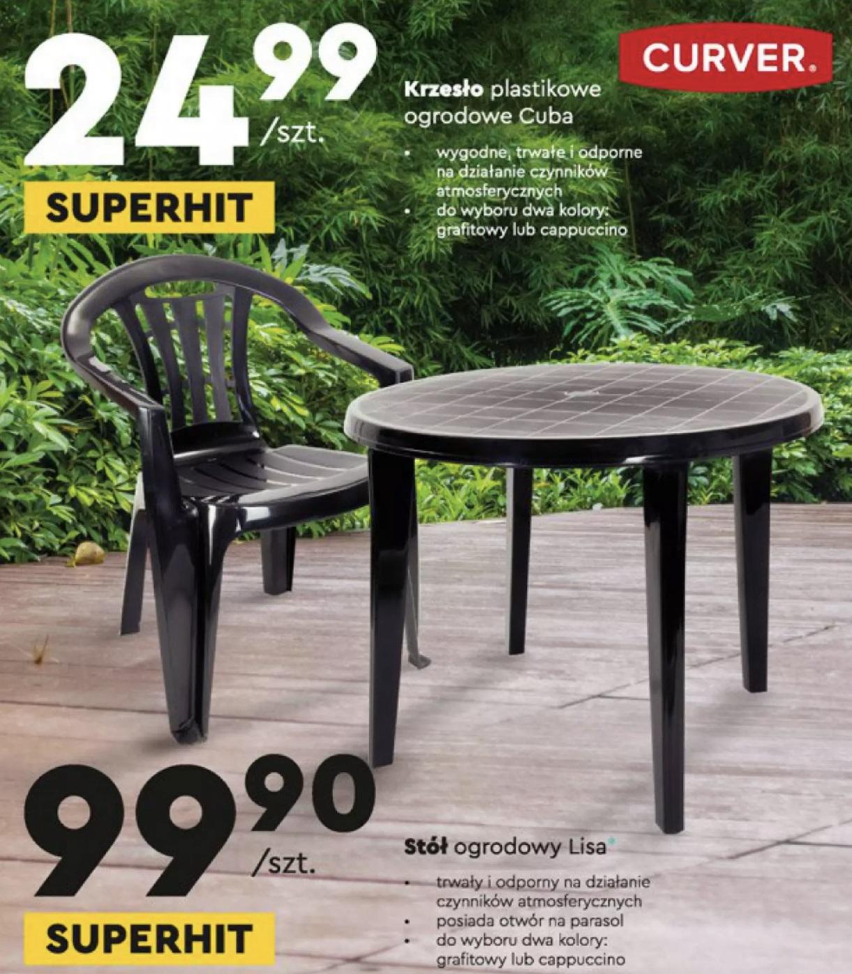 plastikowe krzesło ogrodowe w biedronce Keter/Curver Cuba grafit/cappuchino