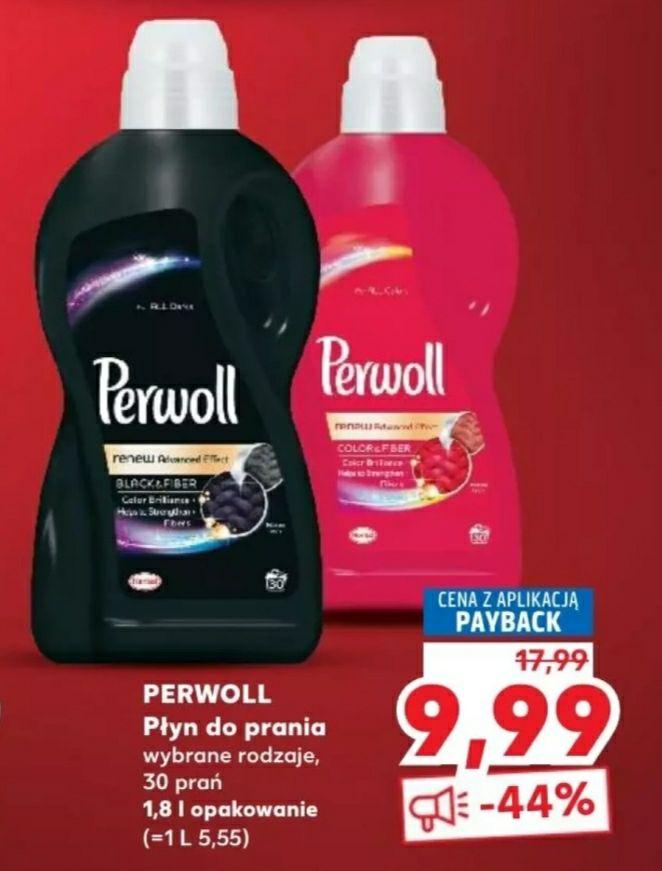 Płyn do prania Perwoll w Kauflandzie, 9.99zł, opakowanie 1.8L. Cena z kartą Payback.