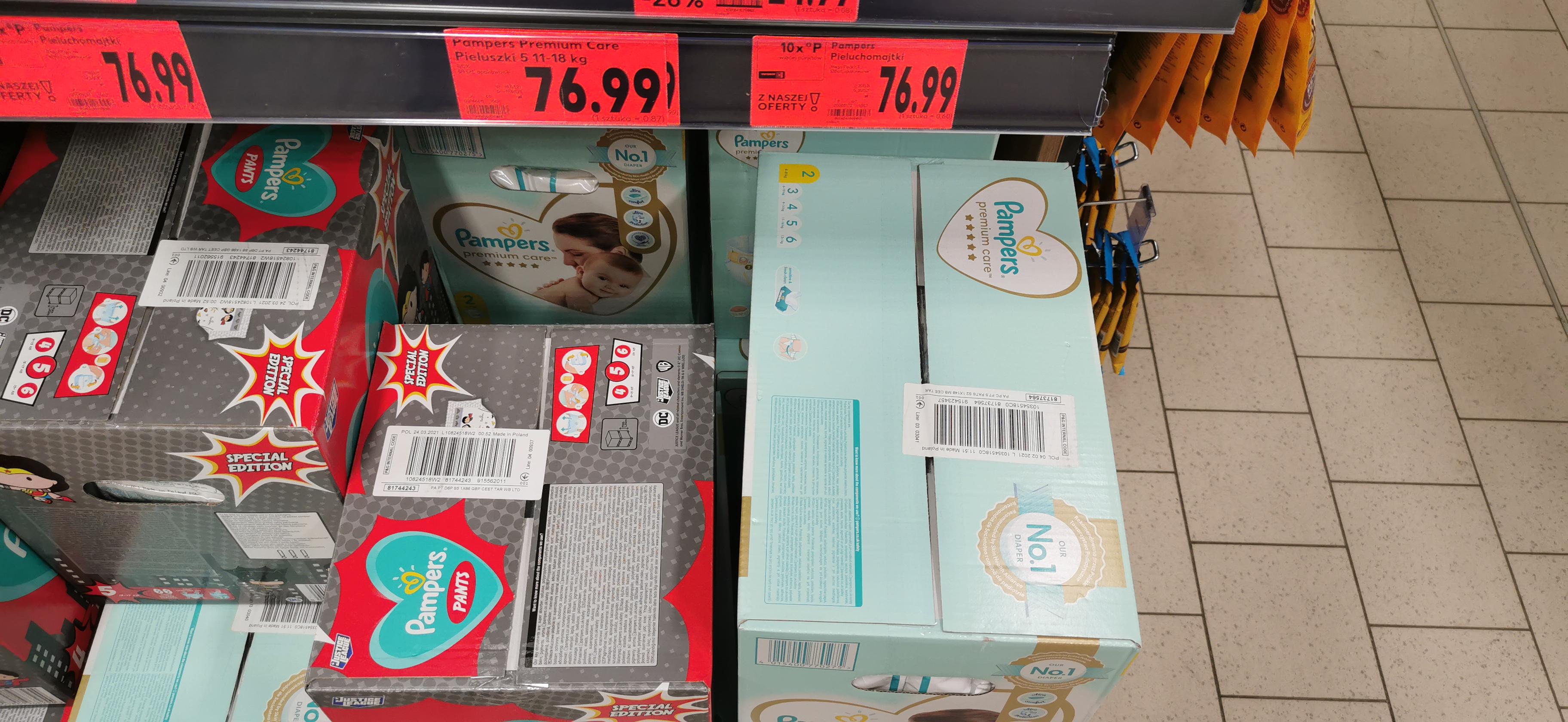Pieluszki Pampers premium care Kaufland 52gr/szt