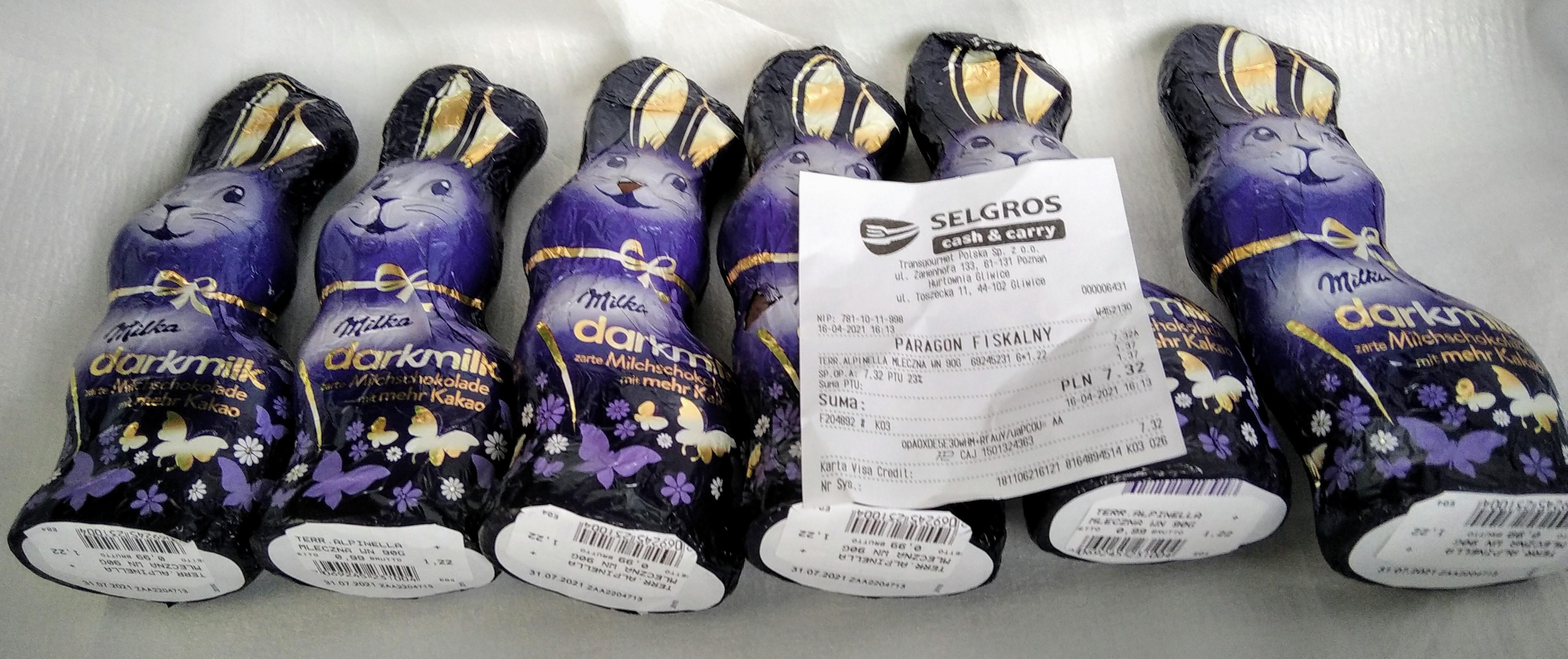 Zajączek Milka Darkmilk 100 g, czekolada mleczna - masa kakaowa minimum 40% , Selgros Gliwice ul. Toszecka