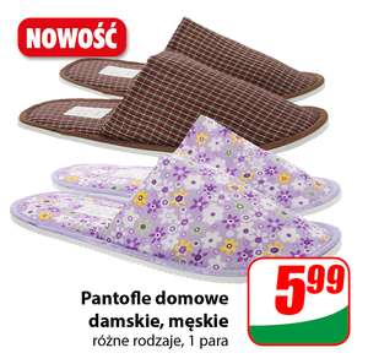 Pantofle domowe damskie lub męskie