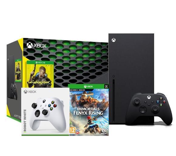 Xbox Series X + Cyberpunk 2077 + Immortals Fenyx Rising + dodatkowy pad (biały)