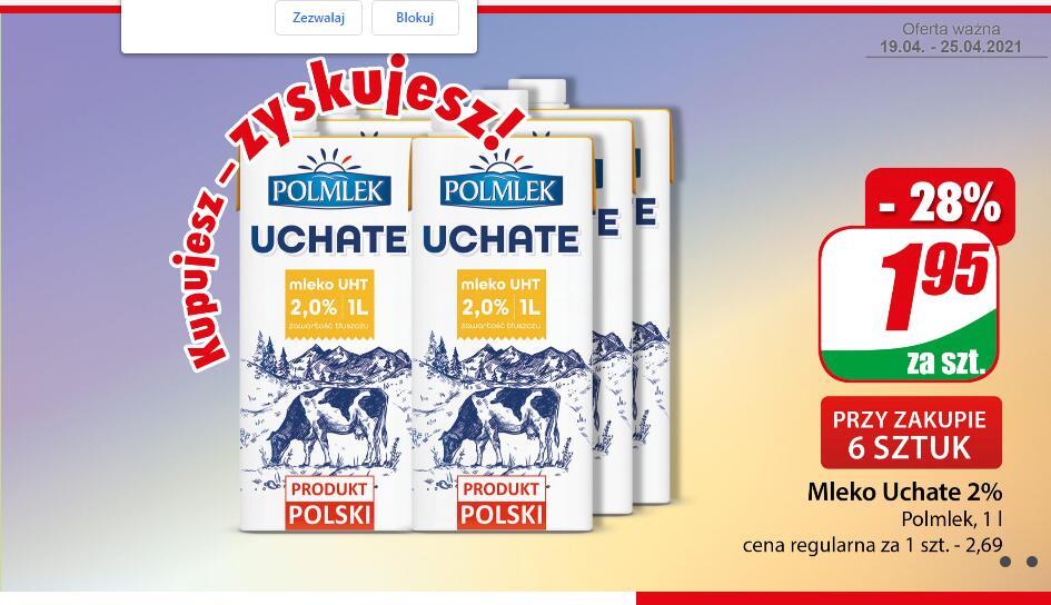 Mleko Uchate 2% Polmlek karton 1L przy zakupie 6 szt /Dino/