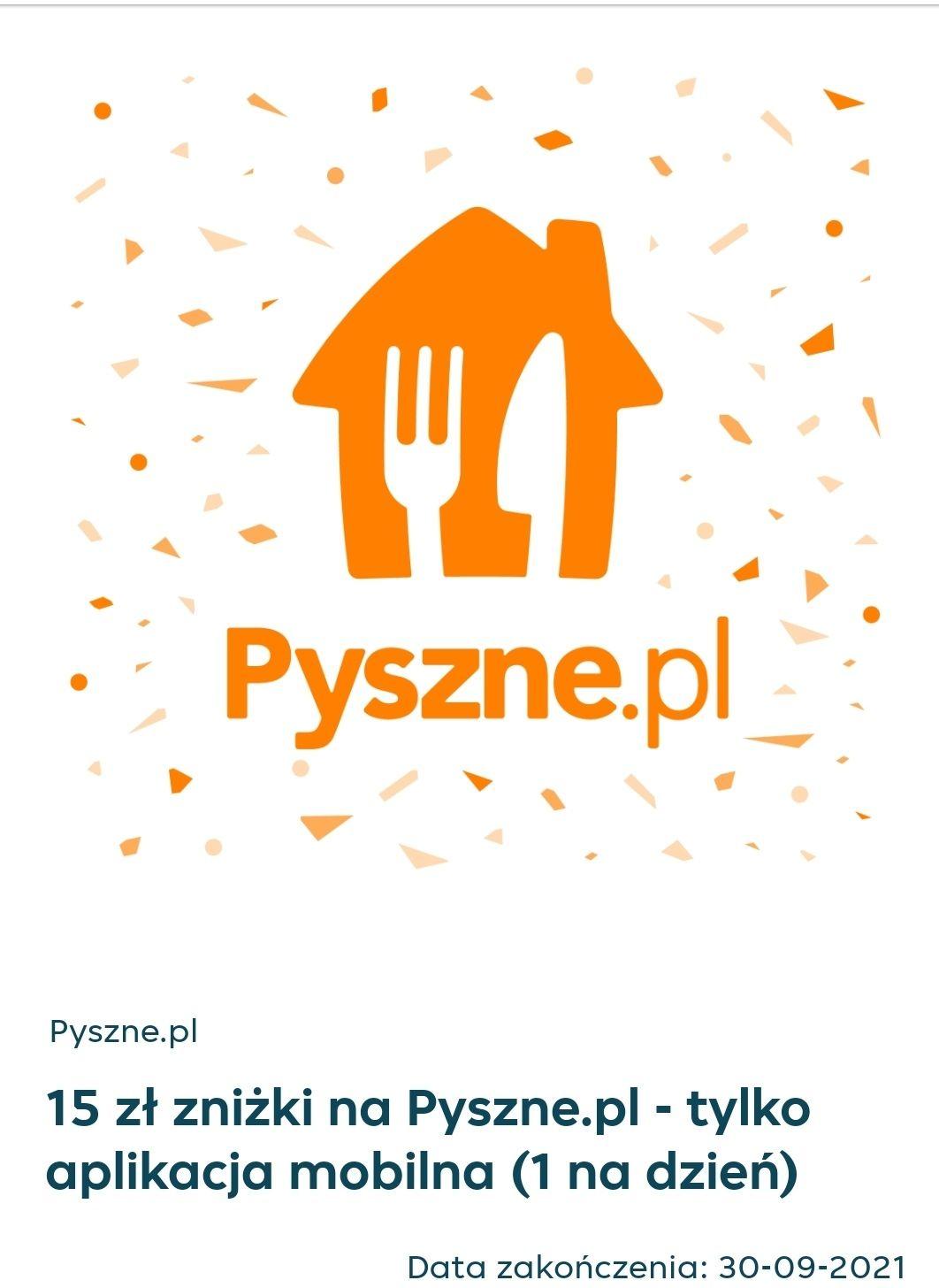 15 zł zniżki za wymianę 150 punktów na pyszne.pl mwz 35 zl. 1 kod na dzień.