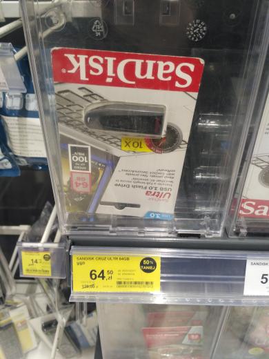 Pendrive (-50%): Sandisk Ultra USB 3.0 64GB za 64,50zł i Integral USB 2.0 64GB za 49,50zł @ Tesco (Ostrów Wielkopolski)