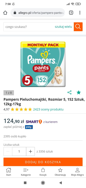 Pieluchomajtki Pampers pants 5