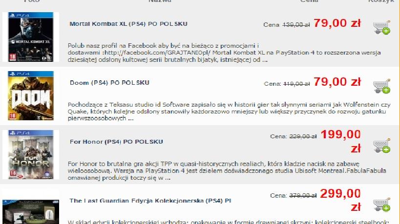 Przeceny gier na konsole!!!! z okazji tłustego czwartku w grajtanio.pl
