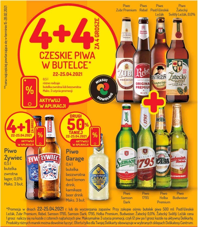 Czeskie piwa w butelce 4+4 za 4 grosze - Delikatesy Centrum