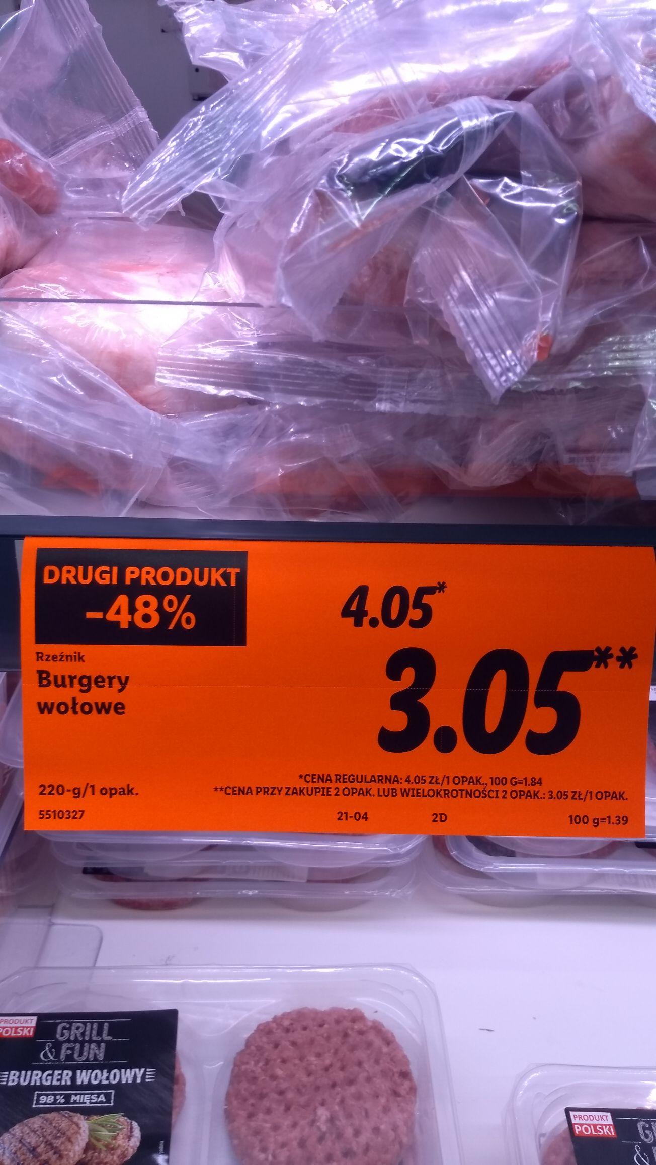 Burgery wołowe 220g. Cena przy zakupie dwóch opakowań. Lidl