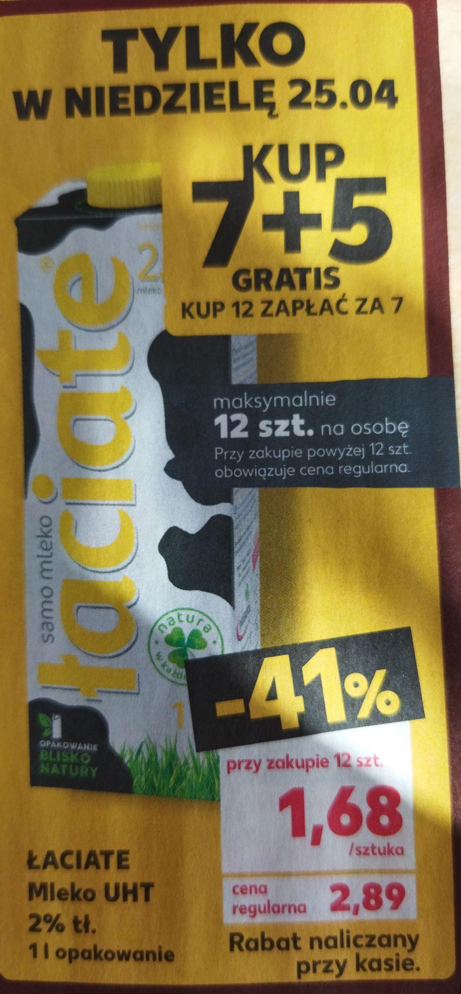 Mleko łaciate 2% 7+5 - Kaufland