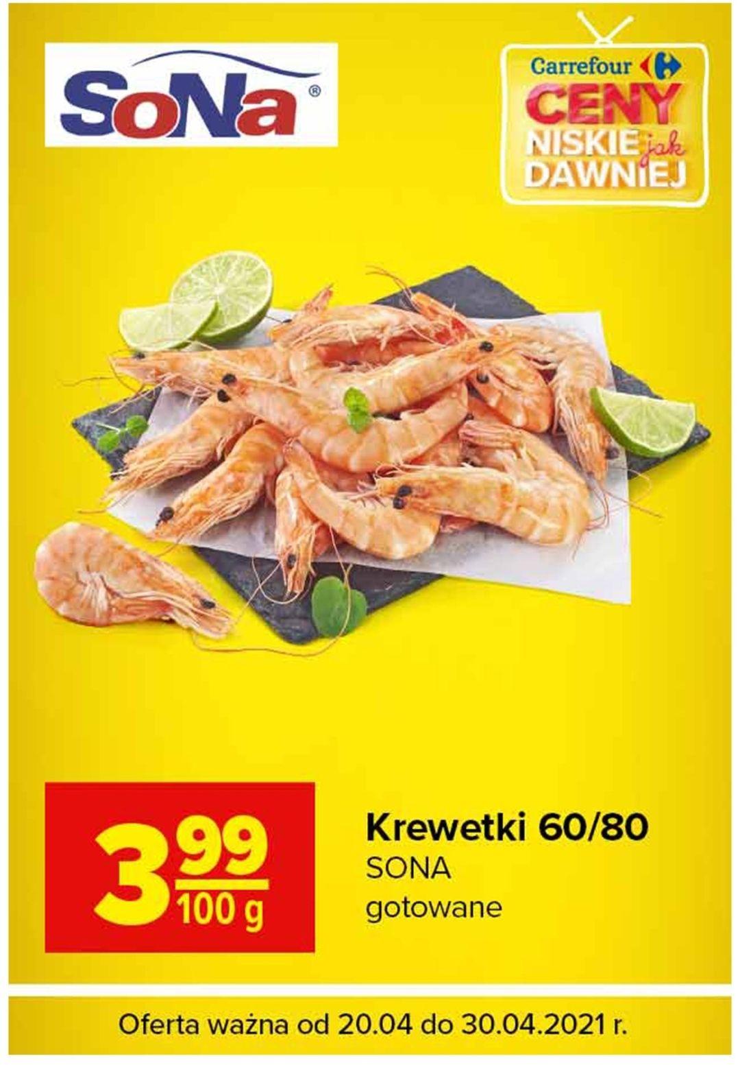 Krewetki gotowane 60/80 Carrefour 3.99/100 gramów
