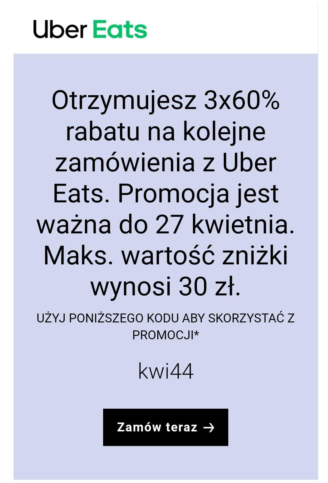 Uber Eats 3x -60%
