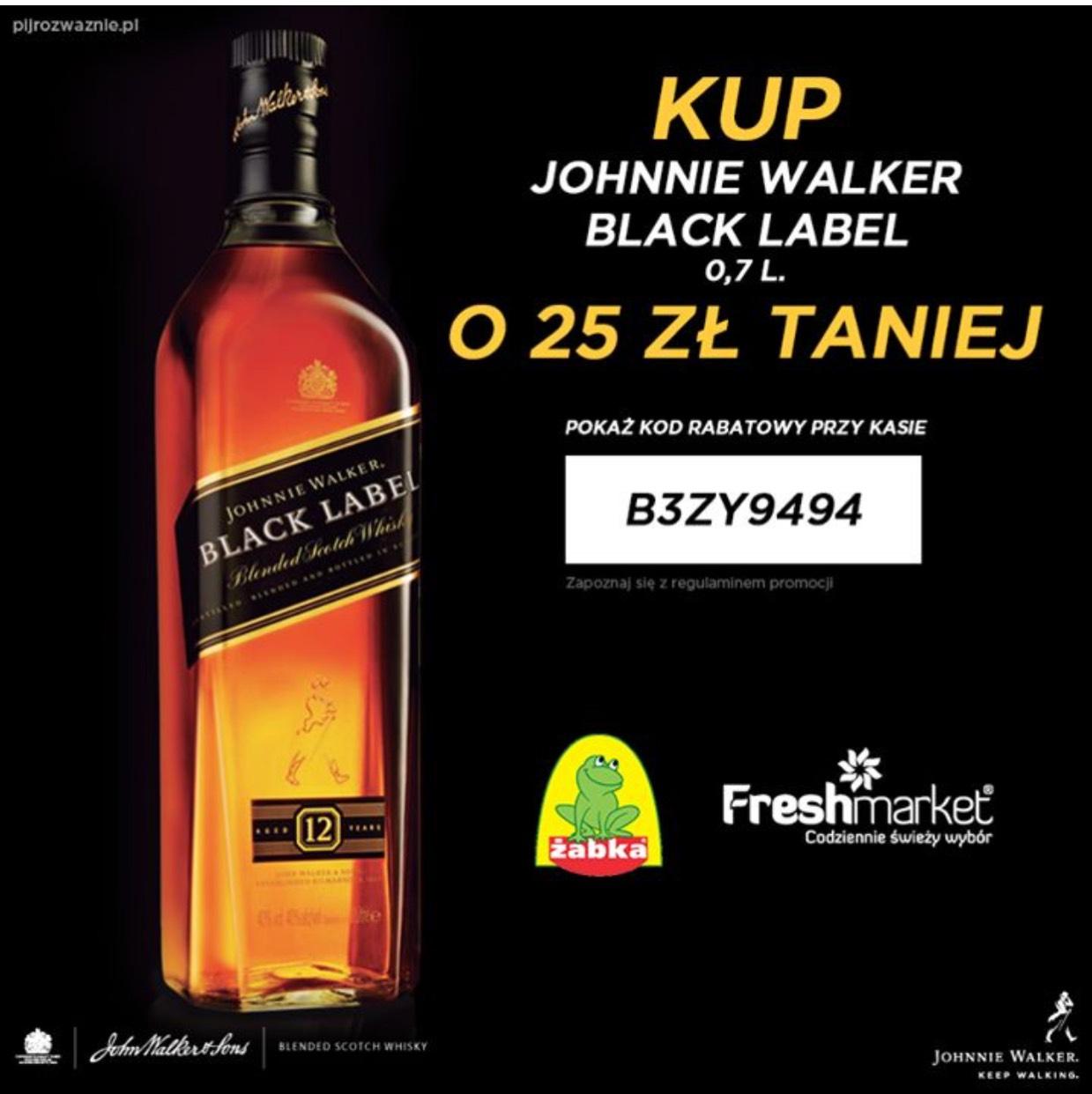 -25 zł na zakup Black Label 0.7L w sklepie żabka i fresh market