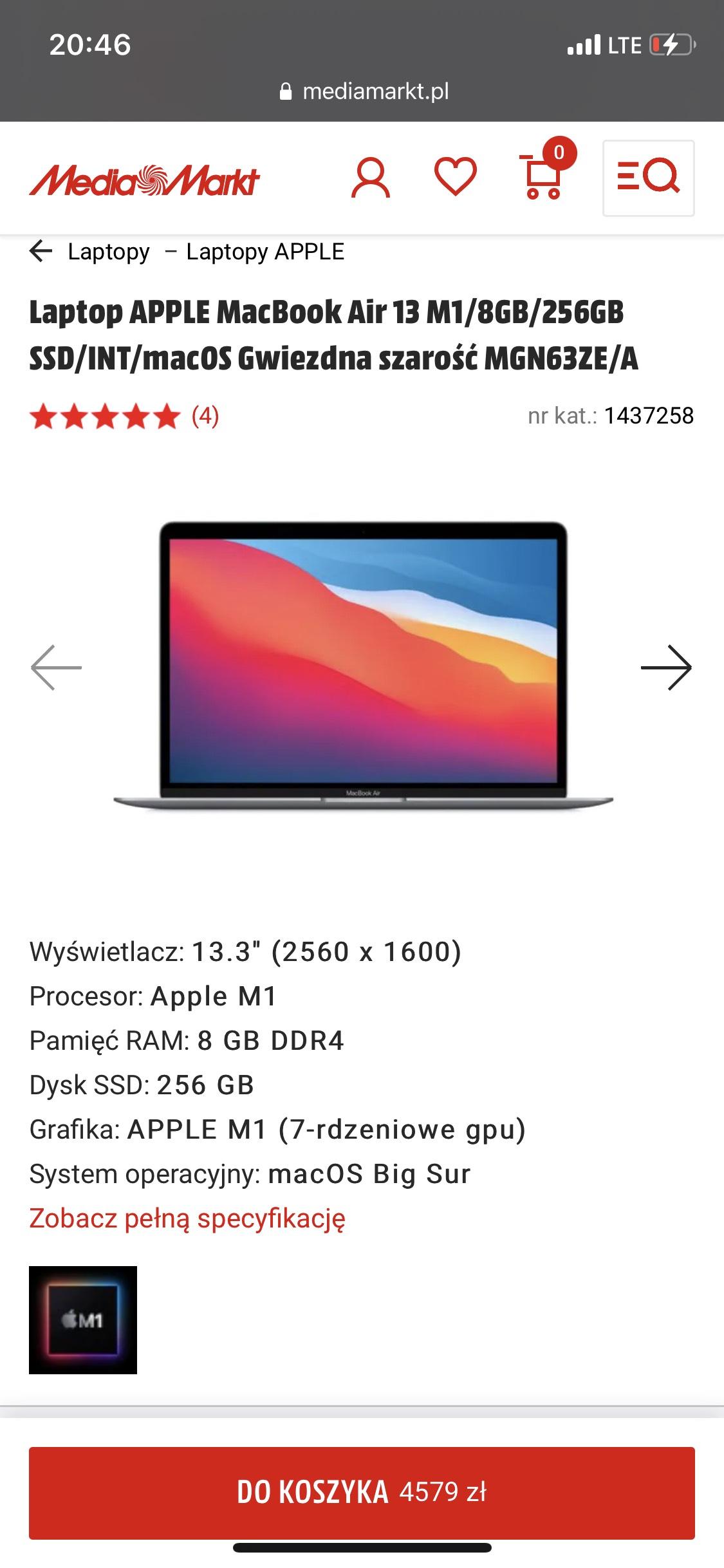 APPLE MacBook Air 13 M1/8GB/256GB SSD/INT/macOS Gwiezdna szarość/ 4579/ Media Markt
