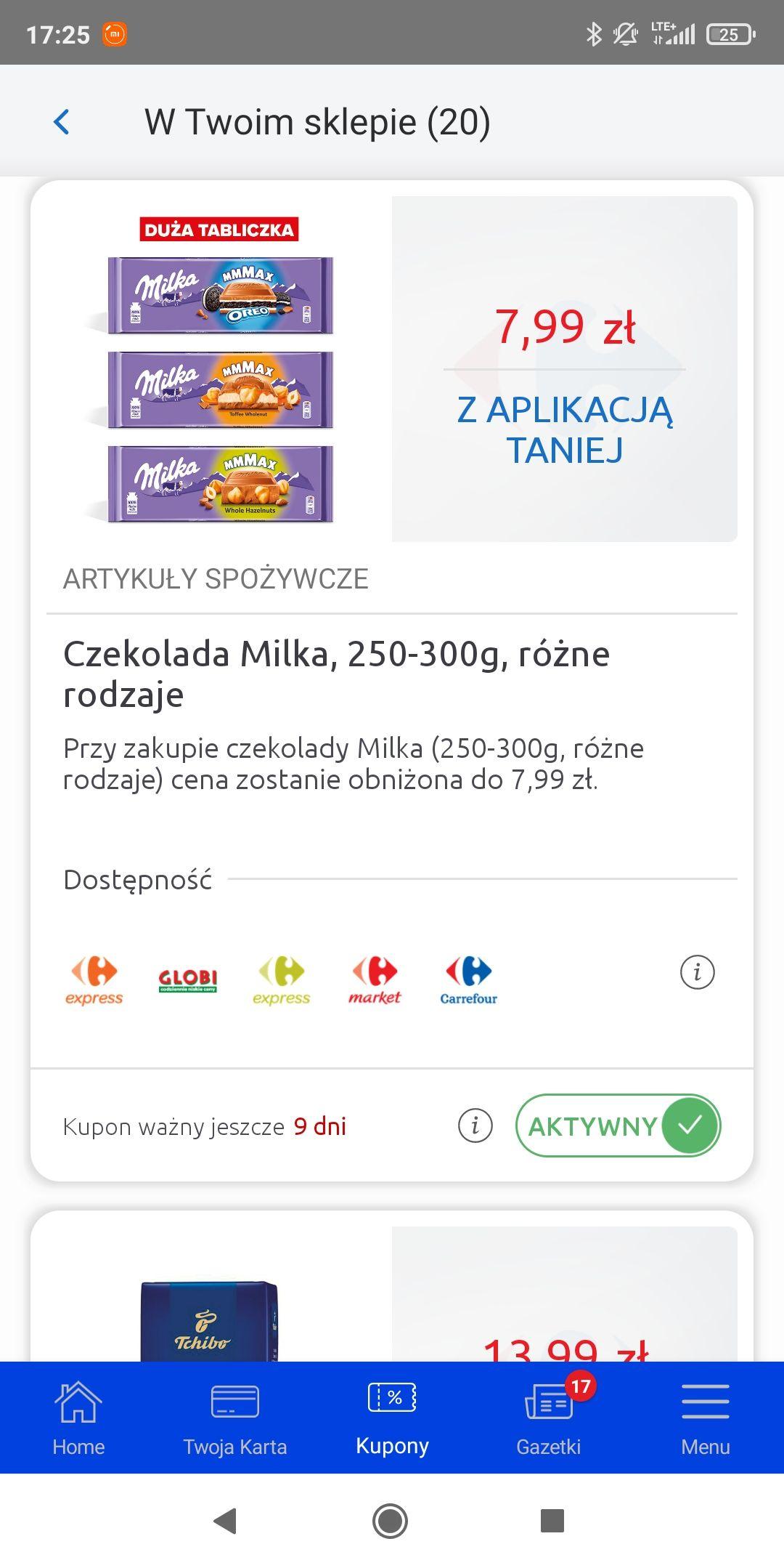 Czekolada Milka mmmax za 7,99 z aplikacją