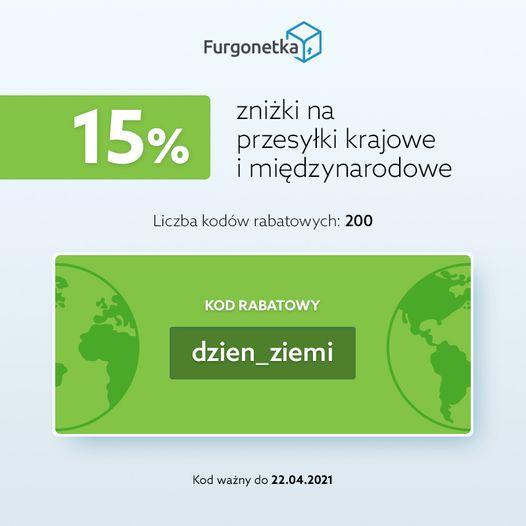 15% zniżki na przesyłki krajowe i międzynarodowe na Furgonetka.pl