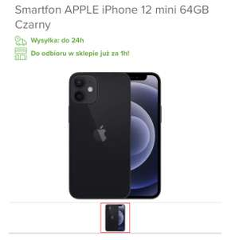 Smartphone APPLE iPhone 12 mini 64GB Czarny