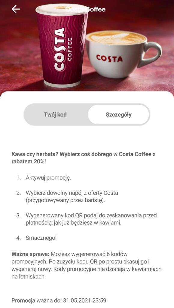 Klub Orange Flex: 6 kuponów -20% na kawę / herbatę w Costa Coffee