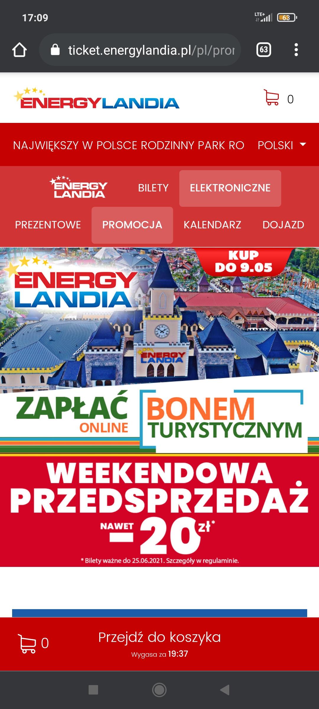 Przedsprzedaż biletów Energylandia -20 zł kup do 09.05 zapłać online bonem turystycznym