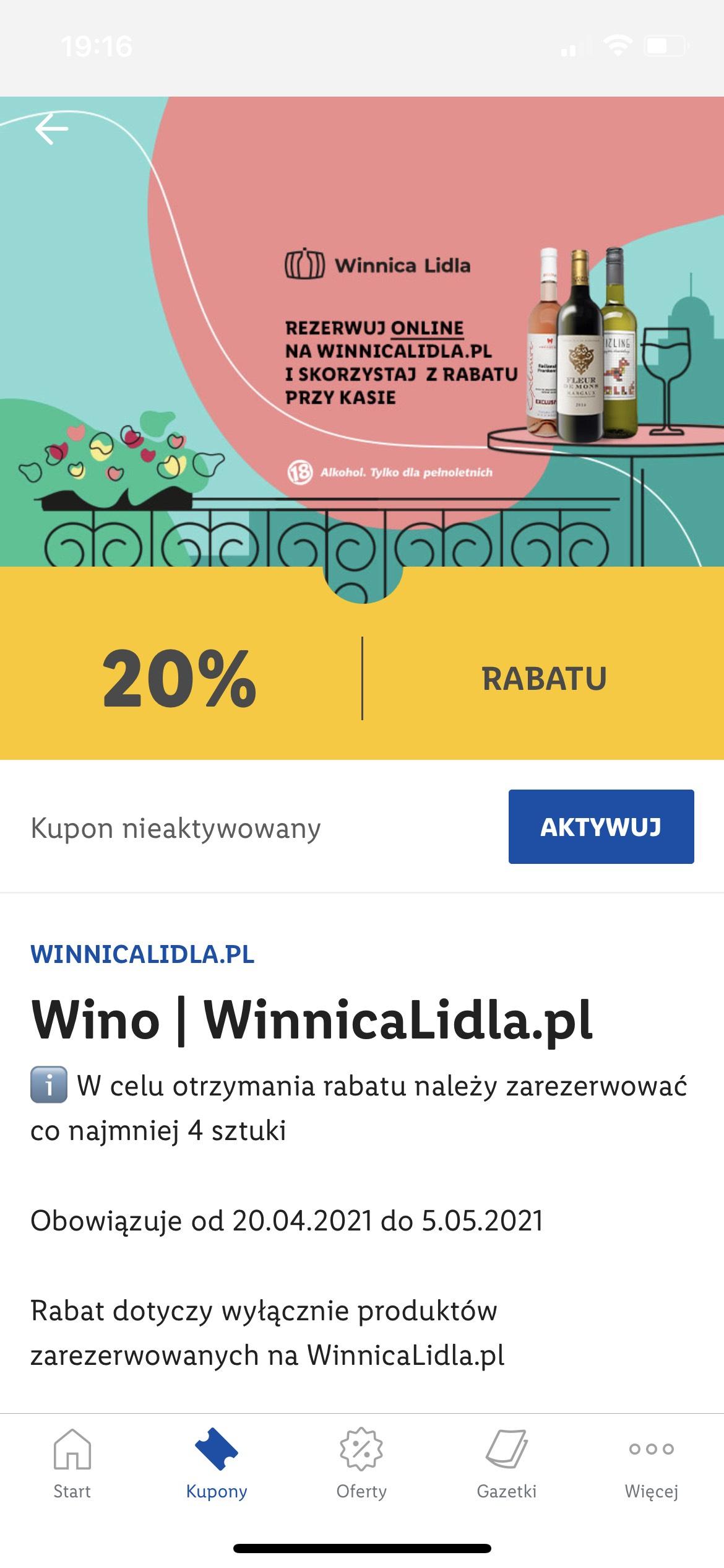 LIDL 20% rabatu na wino przy zakupie 4 sztuk po wcześniej rezerwacji