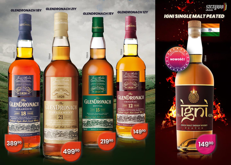 Whisky single malt Glendronach: 12 Original, 15 Revival, 18 Allerdice i 21 Pariament 0,7 Szczyrba Alkohole