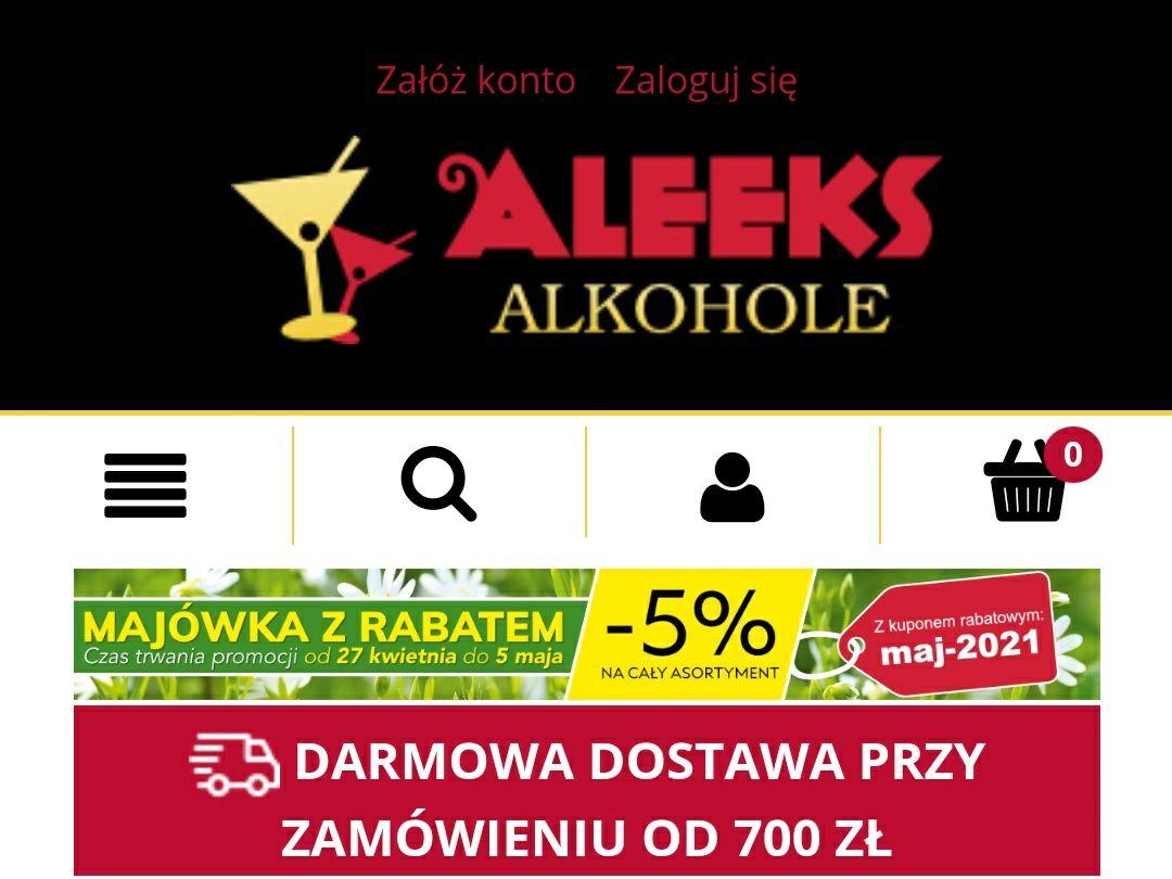 Majówka z rabatem -5% na cały asortyment, AleeksAlkohole 27.04-05.05