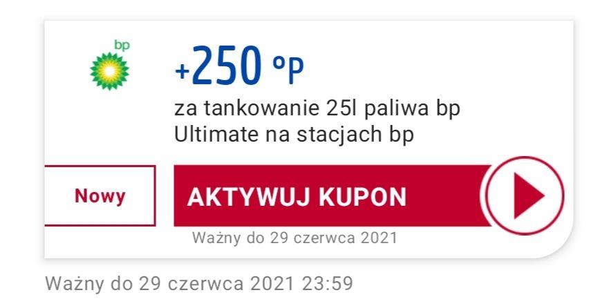 250 punktów PayBack za zatankowanie 25l paliwa BP Ultimate