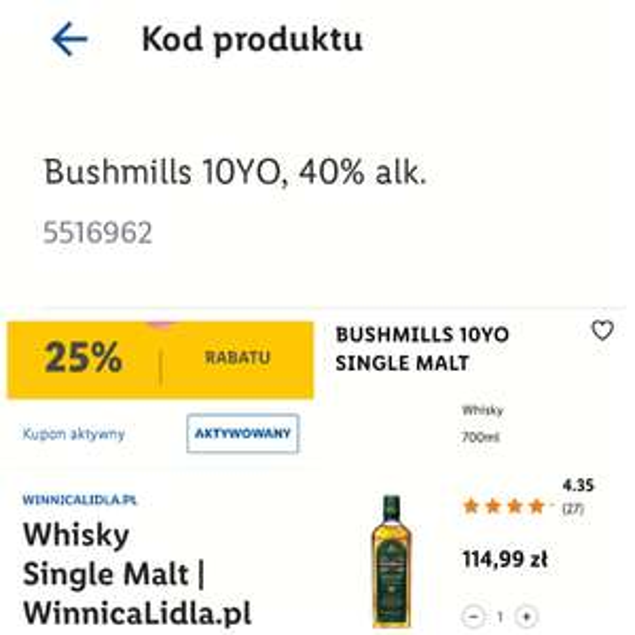Whiskey Bushmils 10YO Single Malt 0,7 , winnica Lidla