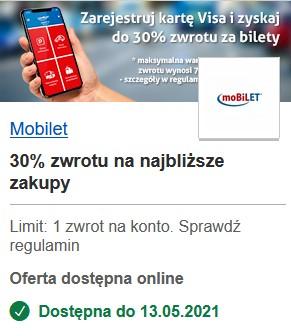 Mobilet zwrot 30% za zakupy z Visa Oferty. Bilety: komunikacja miejska kraj.; transport: PKS Racibórz; kolej: Arriva RP, SKPL; parkowanie