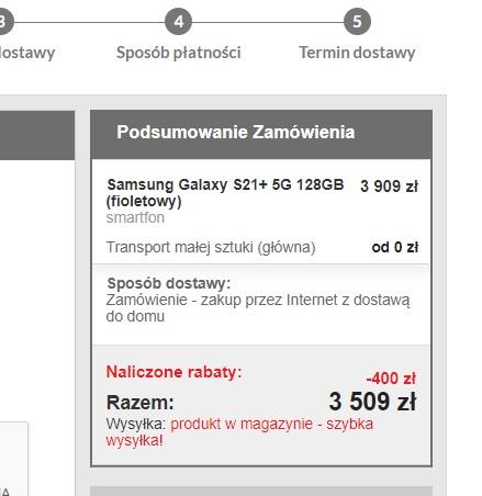 Smartfon Samsung Galaxy S21+ wersja 128Gb za 3509 w EuroRtvAgd
