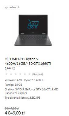 Laptop HP Omen 4600H/16GB/1660Ti/480SSD (możliwe 3399 z voucherem HP)
