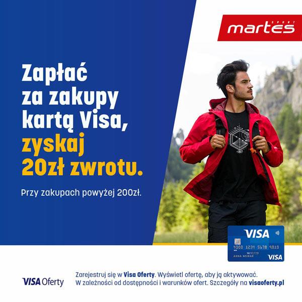 Martes Visa Oferty - 20 zł zwrotu (MWZ 200 zł) w sklepie Martes Sport online i stacjonarnie