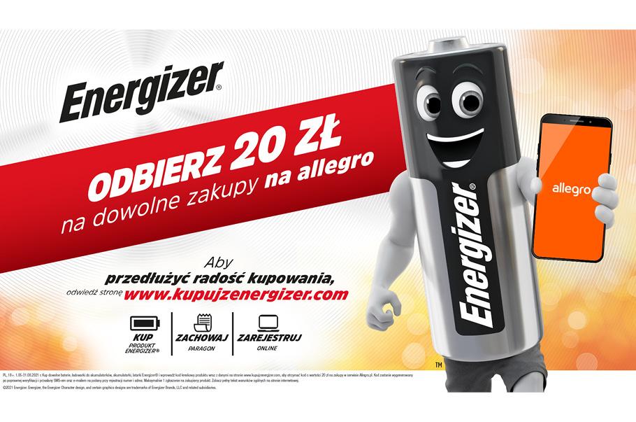Promocja Energizer - Odbierz 20zł na dowolne zakupy na Allegro