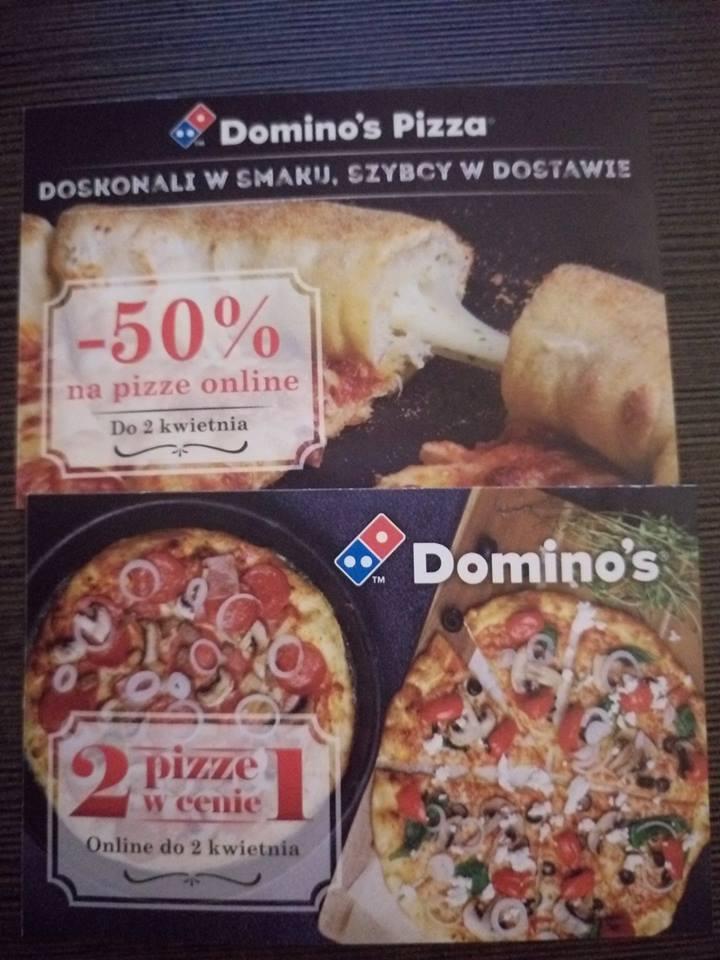 2 pizze w Cenie jednej lub -50% na pizze w Domino's