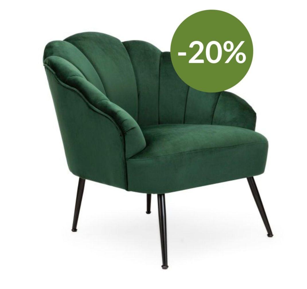 ARIEL Fotel welurowy zielony 63x50x71 cm