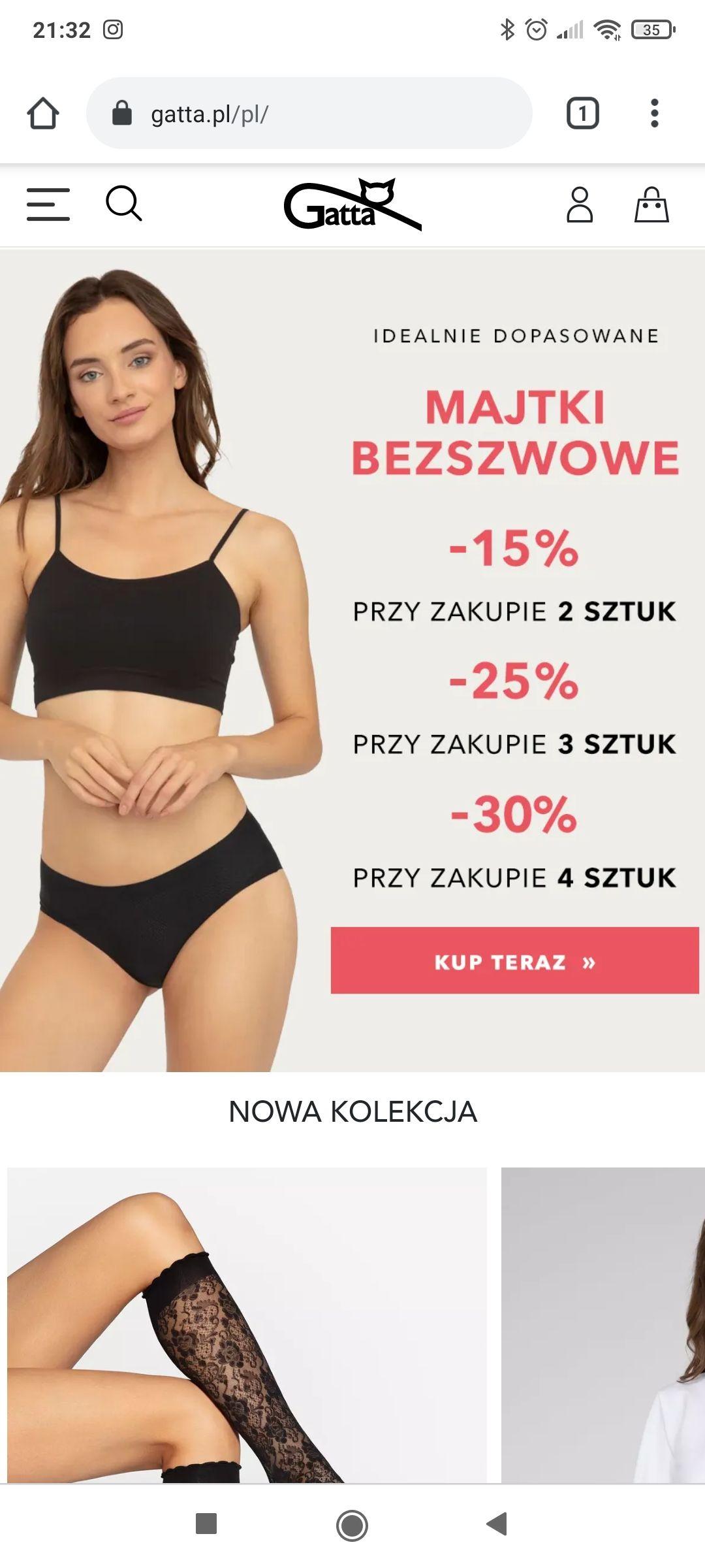 Powiększająca się promocja przy zakupie majtek bezszwowych Gatta do -30%